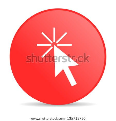 click here red circle web glossy icon - stock photo