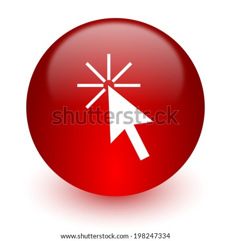 click here red computer icon on white background