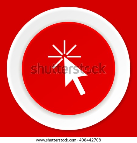 click here red flat design modern web icon