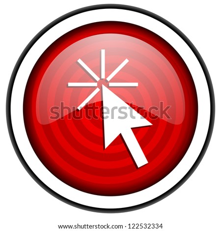click here red glossy icon isolated on white background