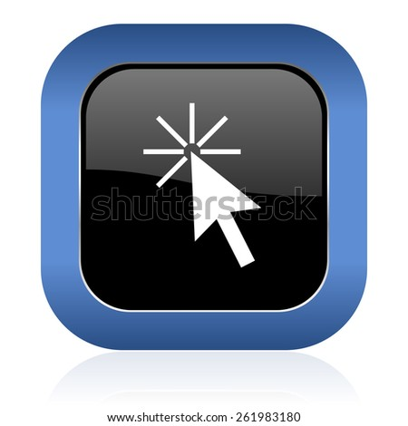 click here square glossy icon