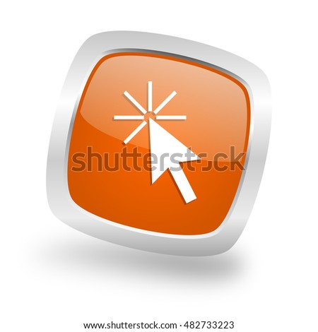 click here square glossy orange chrome silver metallic web icon
