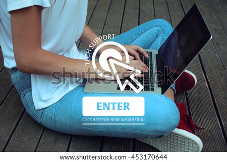 Click Here: Tech Support - Enter Click Here More Information - stock photo