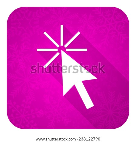 click here violet flat icon, christmas button  - stock photo