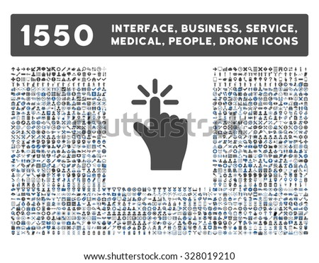 Click icon and other web interface, business, tools, people, medical service and awards glyph symbols. Style is bicolor flat symbols, cobalt and gray colors, rounded angles, white background. - stock photo
