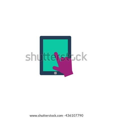Click on the screen tablet. Color simple flat icon on white background