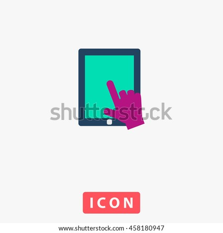 Click on the screen tablet. White circle button on black background