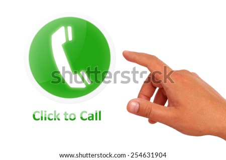 Click to call concept. Hand call button isolated over white. - stock photo