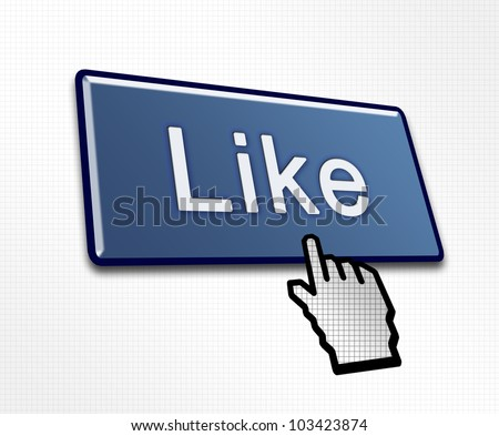 Clicked Like Button Illustration for Social Media - stock photo
