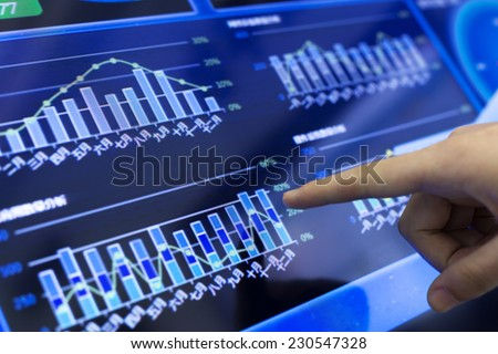 clicking and analysis  business financial report. This is a ERP system which can display company's financial status in graph and report the daily or monthly sale information simultaneously. - stock photo