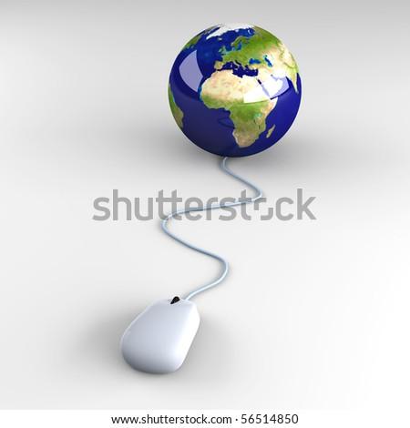 Clicking globe - stock photo