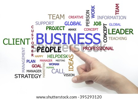 Client and business word cloud. hand writing isolated