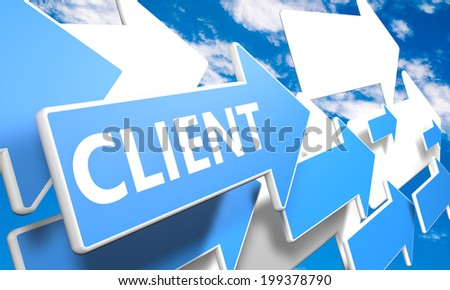 Client 3d render concept with blue and white arrows flying in a blue sky with clouds - stock photo