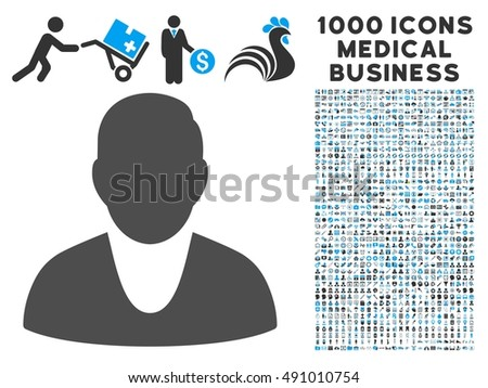 Client icon with 1000 medical commerce gray and blue glyph pictograms. Clipart style is flat bicolor symbols, white background.