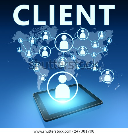 Client illustration with tablet computer on blue background - stock photo