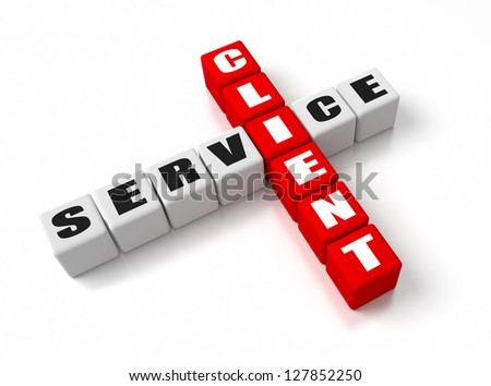 Client Service crosswords. Part of a business concepts series. - stock photo