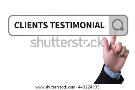 CLIENT TESTIMONIAIS man pushing (touching) virtual web browser address bar or search bar