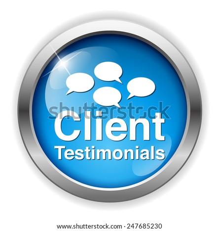 Client testimonials button - stock photo