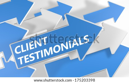 Client Testimonials 3d render concept with blue and white arrows flying over a white background. - stock photo