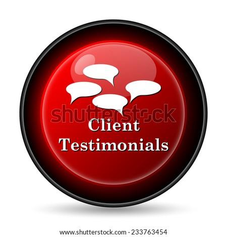 Client testimonials icon. Internet button on white background.  - stock photo