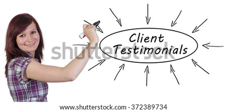 Client Testimonials - young businesswoman drawing information concept on whiteboard.  - stock photo