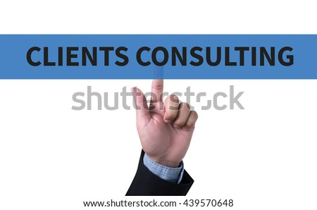 CLIENTS CONSULTING man pushing (touching) virtual web browser address bar or search bar