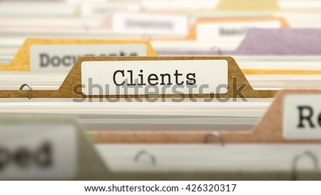 Clients - Folder Register Name in Directory. Colored, Blurred Image. Closeup View. 3D Render.