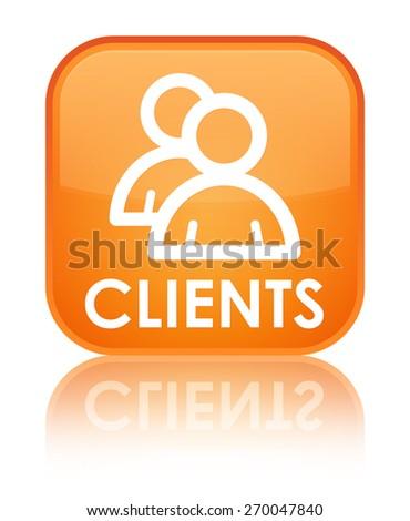 Clients (group icon) orange square button - stock photo