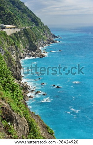 Cliff and blue ocean at East Coast of Taiwan