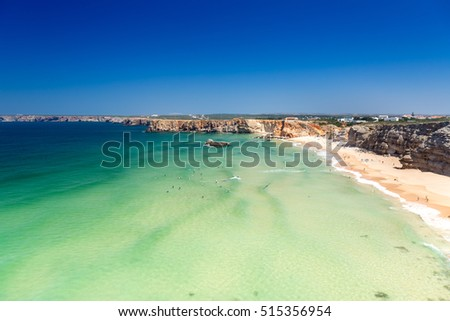 Cliff coastline in Sagres, Algarve, Portugal