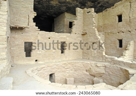Cliff Dwellings at Mesa Verde National Park, Colorado - stock photo