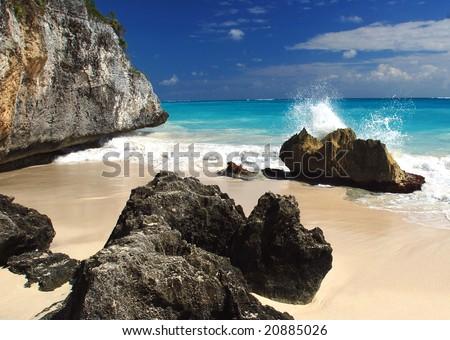Cliff of Maya ruins, Tulum, Cancun - stock photo