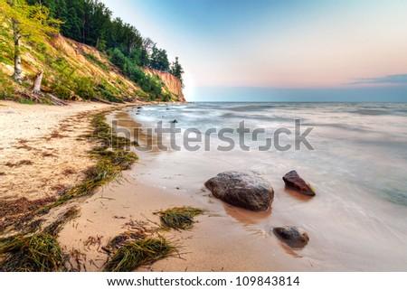 Cliff of Orlowo at Baltic sea, Poland - stock photo