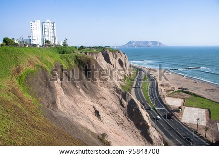 Cliff of the Lima city, called costa - stock photo