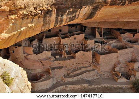 Cliff palace in Mesa Verde National Park, Colorado, USA - stock photo