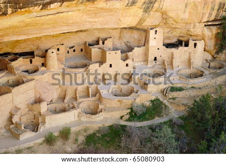 Cliff Palace native american indian ruins - stock photo