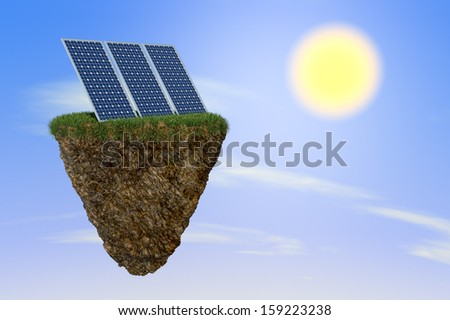 cliff suspended on space with solar panels over it and a bright sun, concept of green energy (3d render) - stock photo