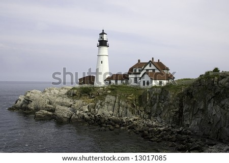 Cliff view of Portland Head Lighthouse