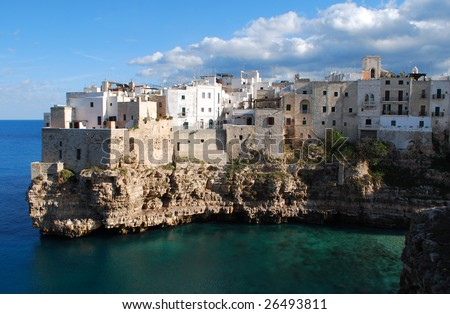 Cliff Village at Polignano a Mare, Bari, Apulia, Italy - stock photo