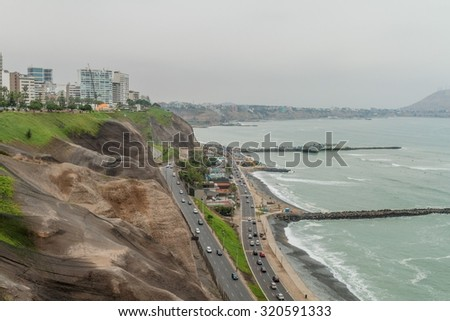 Cliffs above the ocean in Miraflores district of Lima, Peru.