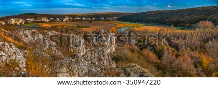 Cliffs - Agricultural fields and swamps, panoramic view - Krasen village area, Rusenski Lom canyon, Ruse district, Bulgaria - 7 frame