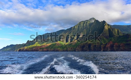 Cliffs along Na Pali Coast of Kauai Island, Hawaii
