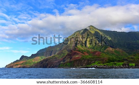Cliffs along Na Pali Coast of Kauai Island, Hawaii - stock photo