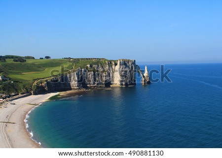 Cliffs and beach of Etretat, France