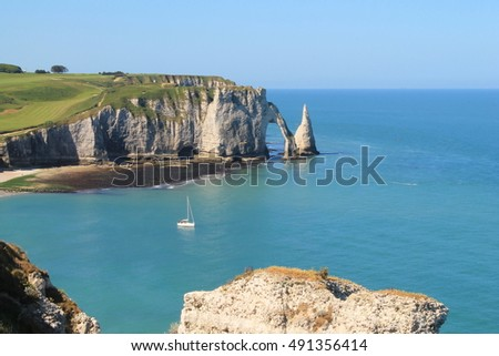 Cliffs and beach of Etretat, the french norman town