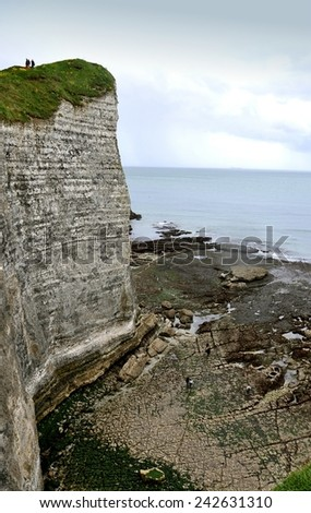 Cliffs and Beaches of Etretat, Normandy. France. (After Rain). - stock photo