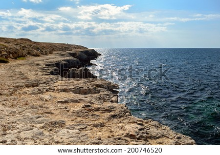 cliffs and sea - stock photo