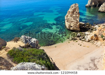 Cliffs at Algarve beach, south of Portugal - stock photo