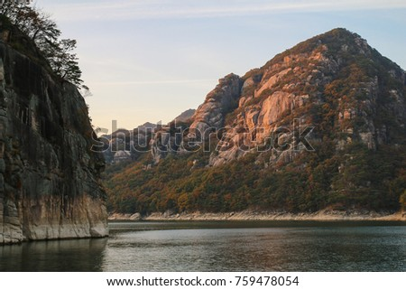 Cliffs at Chungjuho Lake in the evening at Danyang county in South Korea