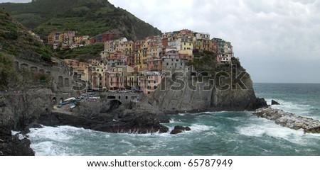 Cliffs in Cinque Terra Italy - stock photo